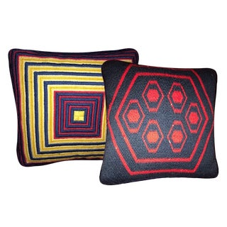 Jonathan Adler Style Vintage Geometric Needlepoint Accent Pillow – a Pair