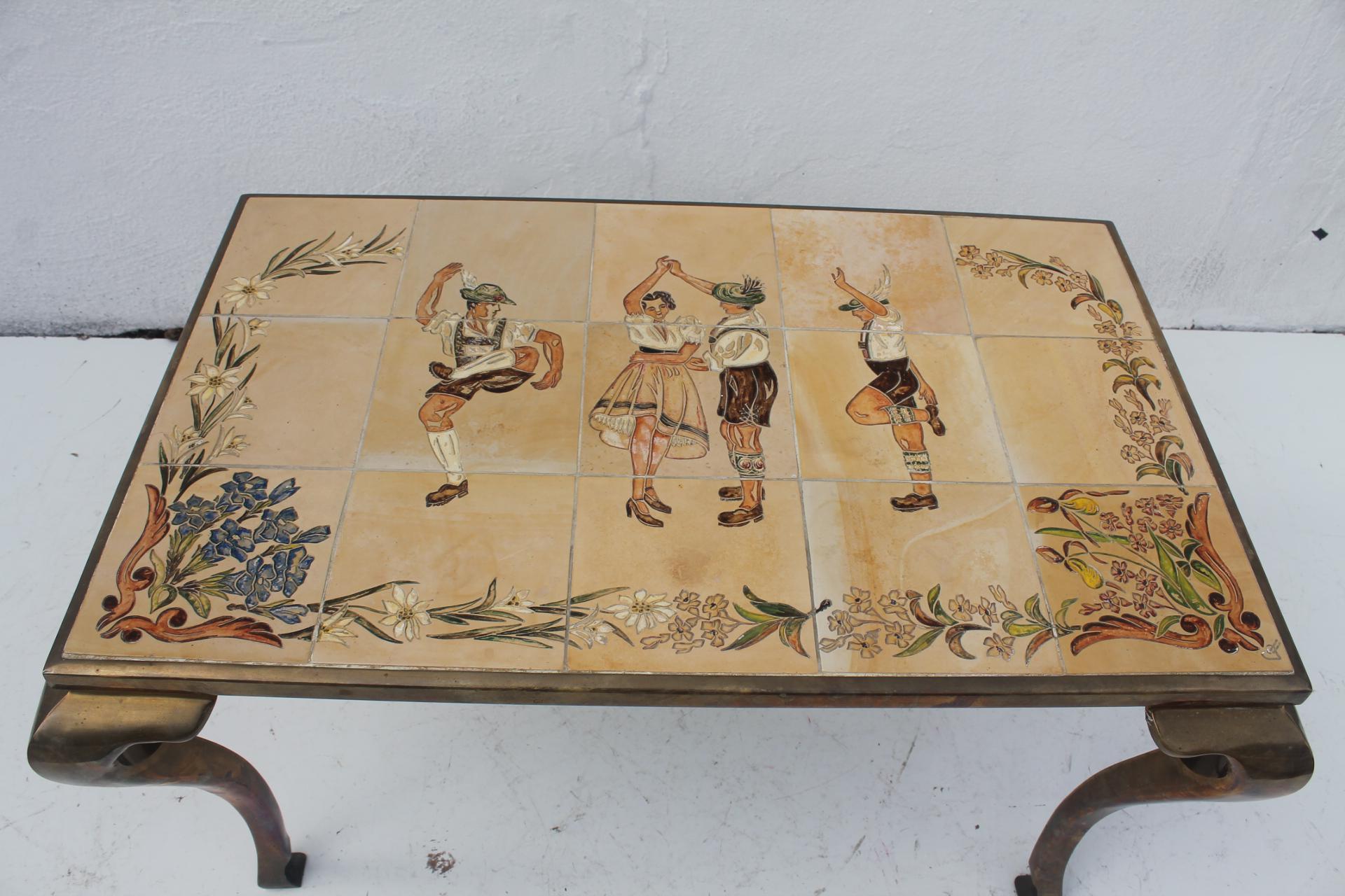 Vintage Brass Ceramic Tile Top Coffee Table Chairish Rh Com Set