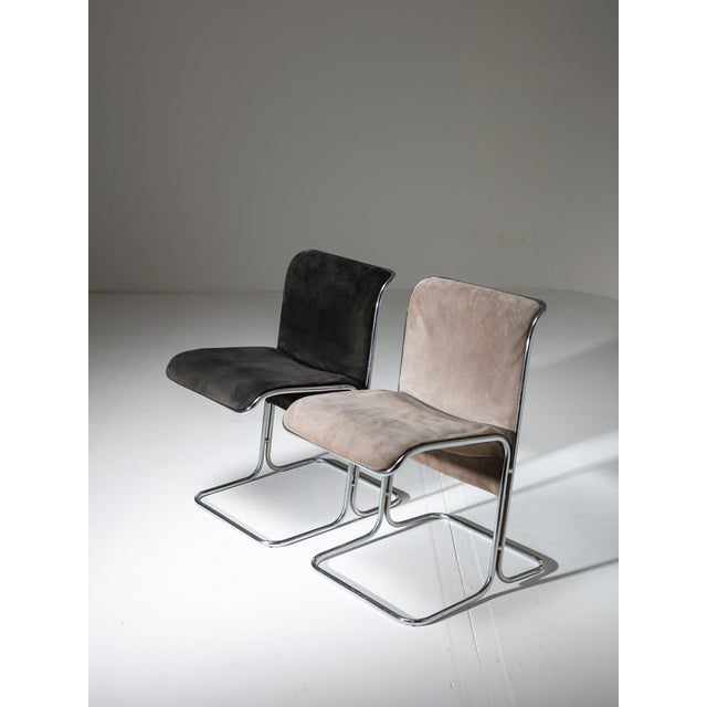 Set of six Calla dining chairs by Antonio Ari Colombo for Arflex. Chrome frame and suede upholstery in two different...
