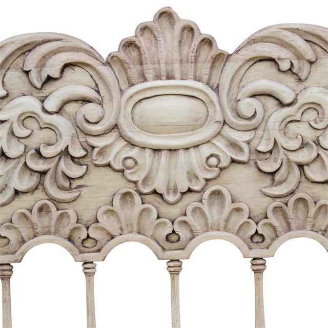 Spanish Colonial Carved High Back Bench For Sale - Image 4 of 5