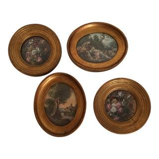 Vintage Gold Gilt Wooden Framed Miniature Italian Florentine Plaques - Set of 4 For Sale