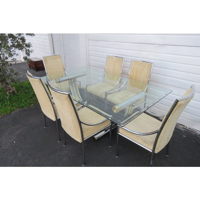Hollywood Regency Glass Top Dining Table With Eight Chairs by Basset For Sale - Image 11 of 13