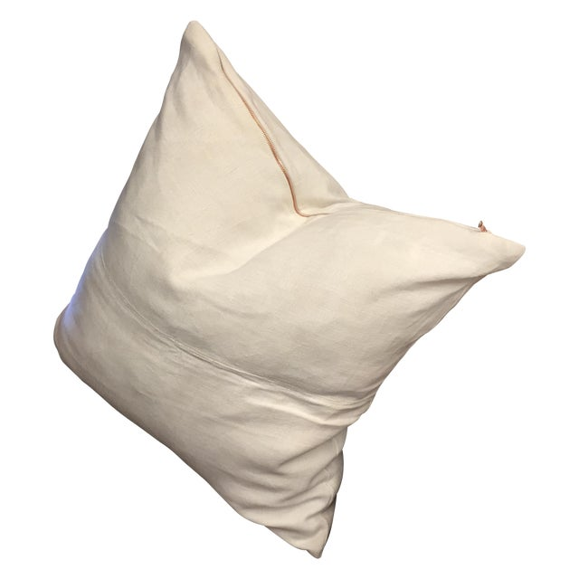 Vintage Linen Pillow Cover With Copper Zipper - Image 1 of 6