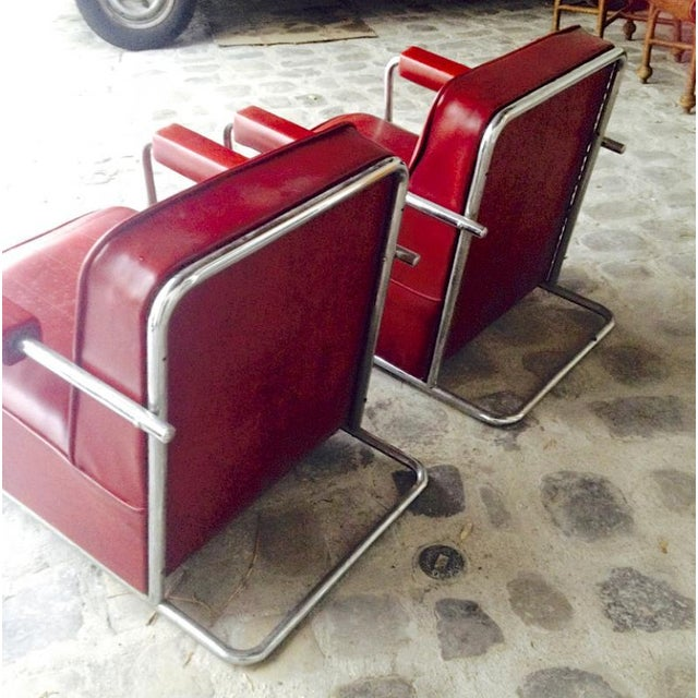 1930s Thonet Frères by René Coquery Documented Modernist Pair of Club Chairs For Sale - Image 5 of 8