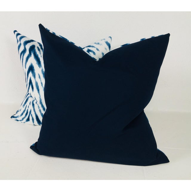 2010s Large Flame Stitch White & Blue Pillows – a Pair For Sale - Image 5 of 8