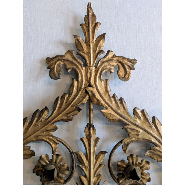 French Antique Italian Tole Gilt Wall Candelabra For Sale - Image 3 of 13