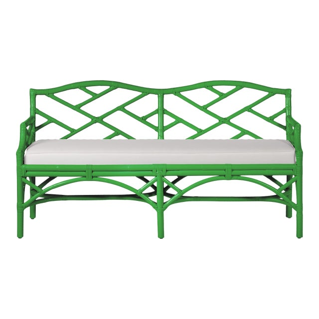 Chippendale Bench - Bright Green For Sale