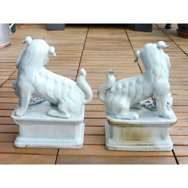 Late 18th Century 18th C / 19th C Qing Dynasty Chinese Celadon Foo Dogs - a Pair For Sale - Image 5 of 13