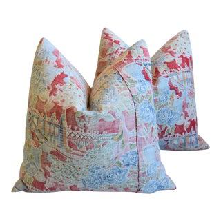 "Bohemian Chic Rose & Blue Floral Batik Feather/Down Pillows 24"" Square -Pair For Sale"