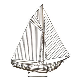 1980s Mid Century Sailboat Ship Sculpture by Curtis Jere For Sale