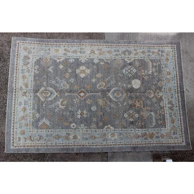 Islamic Turkish Oushak Ushak Blue & Gray Rug -7″ × 10″ For Sale - Image 3 of 3
