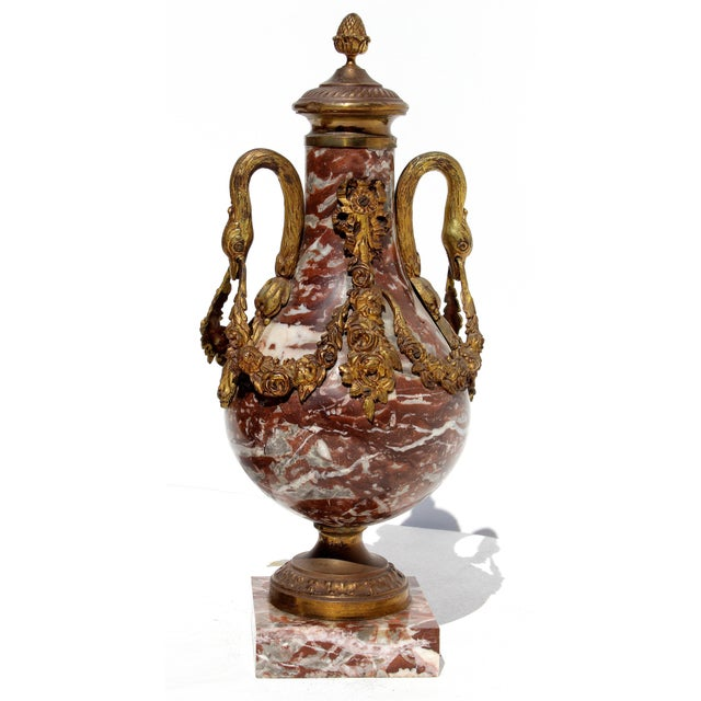 French French 19th Century Bronze Doré & Marble Cassolettes-A Pair For Sale - Image 3 of 10