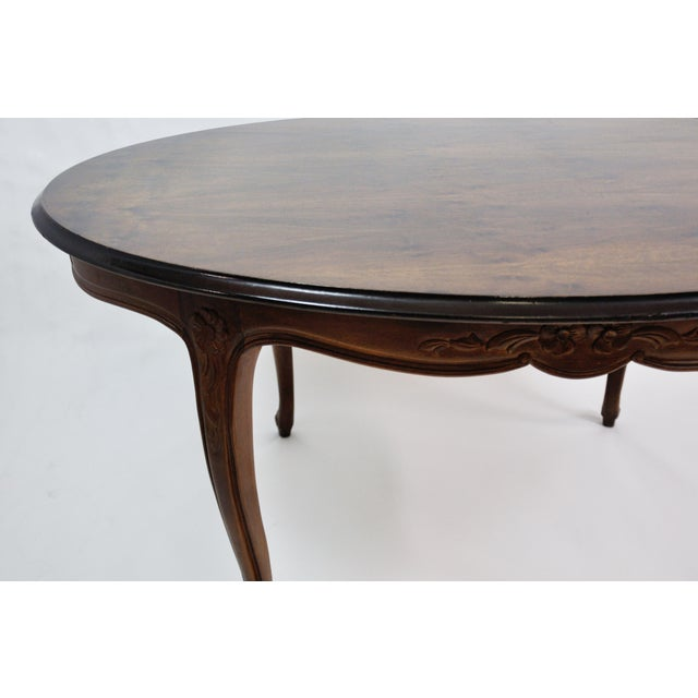 Vintage French Oval Queen Anne Cherry Wood Dining Table Circa 1960 For Sale - Image 12 of 13