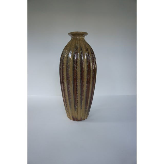 1960s Mid Century Modern Art Pottery Tall Ridged Brown Vase Chairish
