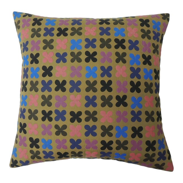 """Quilted Cotton Red and Blue """"Osaka"""" Decorative Pillow For Sale"""