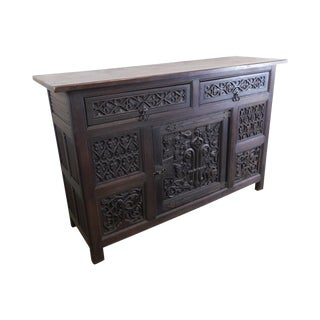 Gothic Revival Antique Carved Oak Sideboard For Sale