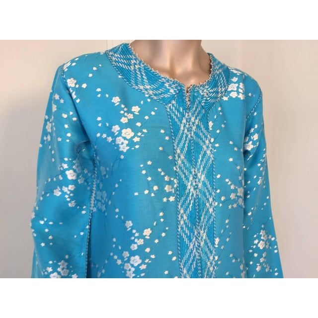 1970s Vintage Moroccan Designer Kaftan Turquoise Maxi Dress Kaftan Size Small For Sale - Image 5 of 9