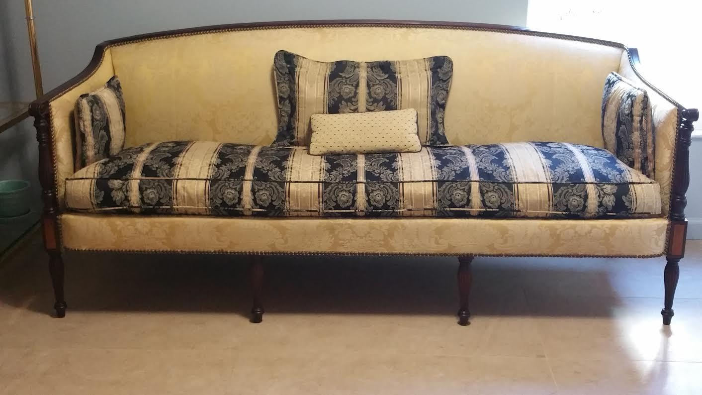 This Beautiful Vintage French Provincial Sofa / Settee Is Featured In A  Solid Walnut Wood With