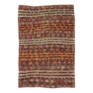 Embroidered Vintage Kilim Rug For Sale