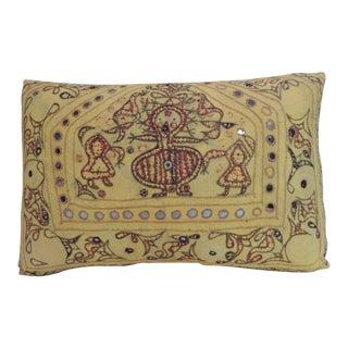 Vintage Kanbi Indian Embroidery Lumbar Decorative Pillow For Sale