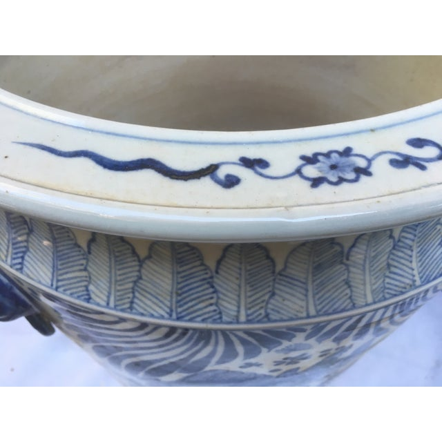 Blue & White Chinese Fish Motif Planter - Image 7 of 10