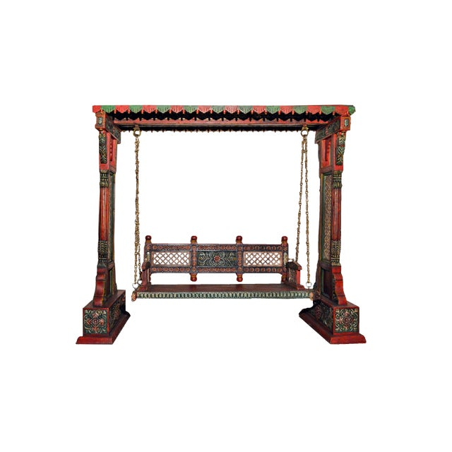 """This Royal Indian Jhula Swing is exquisitely handcrafted and Painted by Skilled Indian Craftsman. This crafted wooden..."