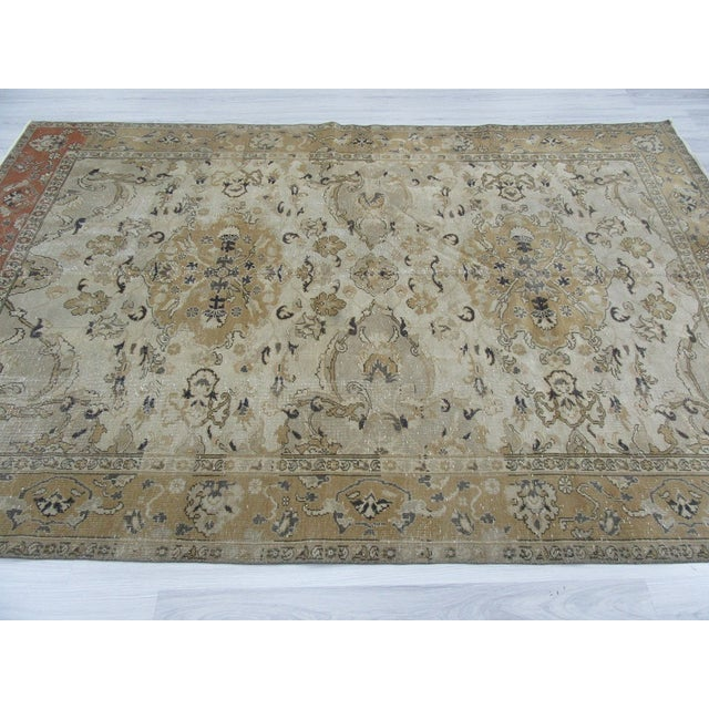 "Vintage Hand Knotted Turkish Area Rug - 6'5"" X 9'10"" - Image 4 of 6"