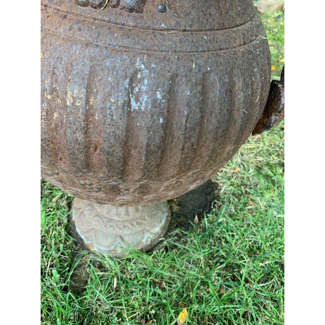 Mid 20th Century Antique Iron Urn With Handles For Sale - Image 5 of 6