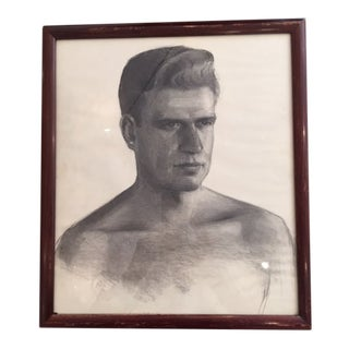 1940s Vintage Charcoal Portrait Drawing For Sale