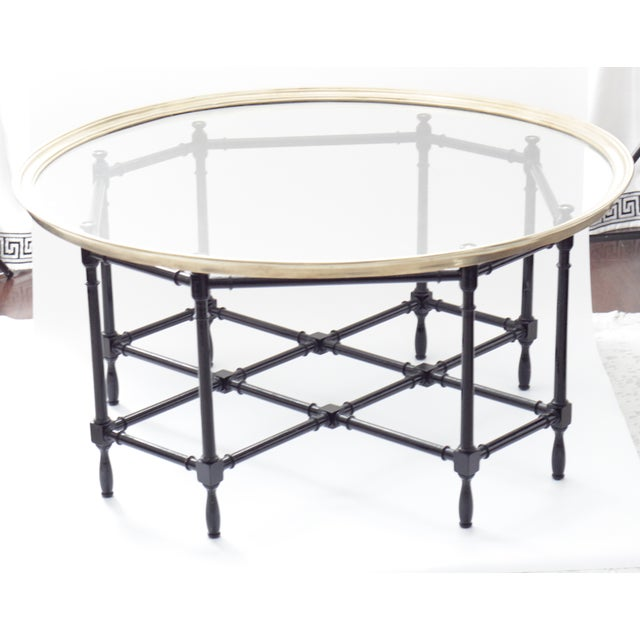 Hollywood Regency Baker Brass & Glass Faux Bamboo Coffee Table For Sale - Image 3 of 8