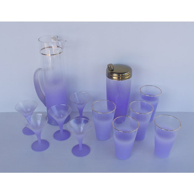 West Virginia Glass Frosted Cocktail Set - Image 3 of 8
