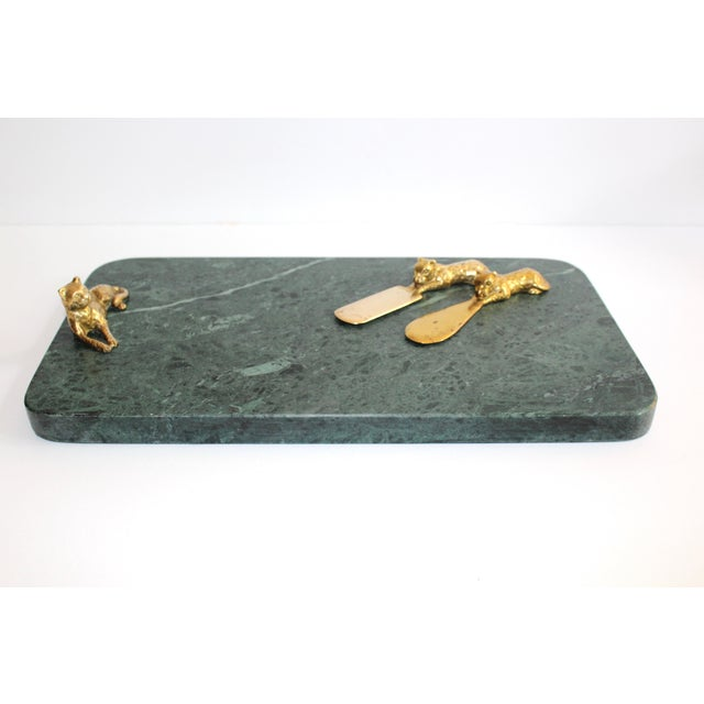 Vintage Green Marble Tray With Gold Leopard Serving Knives, 1970's For Sale - Image 9 of 12