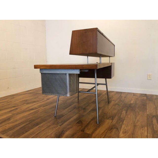 George Nelson for Herman Miller Walnut, Steel and Leather Mid Century Desk For Sale In Seattle - Image 6 of 12