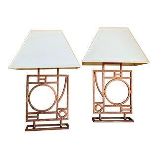 Robert Sonneman for George Kovacs Post Modern Memphis Style Abstract Copper Lamps With Linen Shades - a Pair For Sale