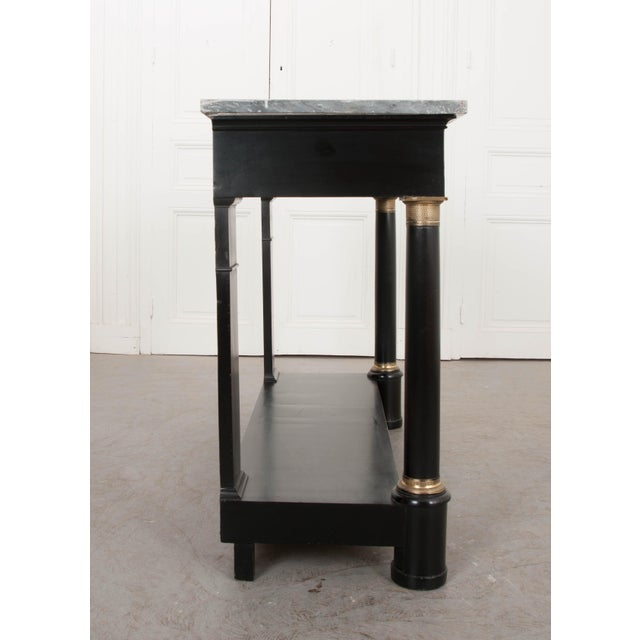 Metal French 19th Century Second Empire Ebonized Console and Mirror For Sale - Image 7 of 13