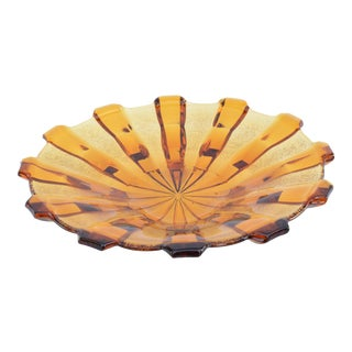Vintage Art Deco Honey Glass Plate, Stölzle, Czechoslovakia, 1930s For Sale