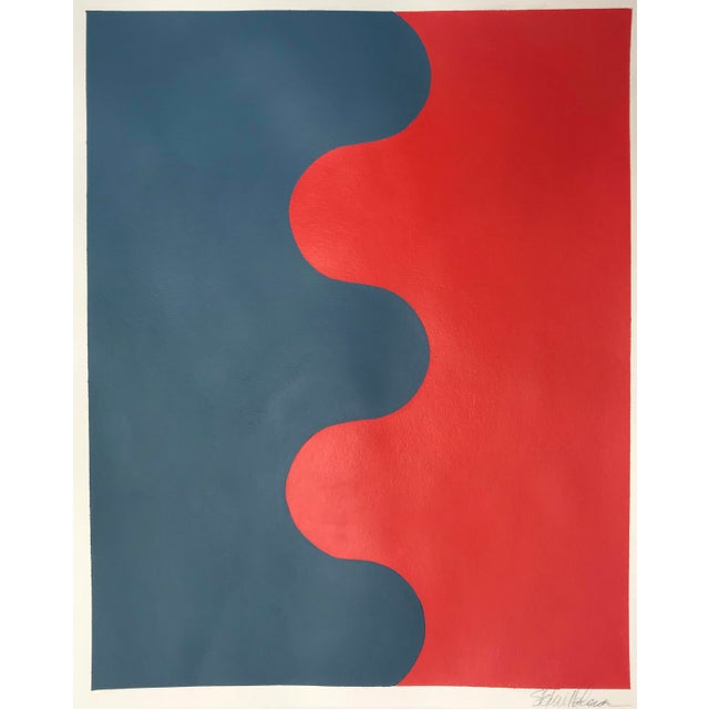 Contemporary Hairpin Serpentine in Fire Coral and Stormy Blue by Stephanie Henderson For Sale - Image 3 of 3