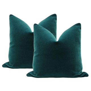 "22"" Teal Mohair Velvet Pillows - a Pair"