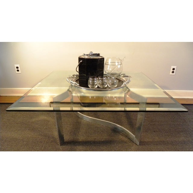 Milo Baughman Style Glass and Chrome Table - Image 6 of 9