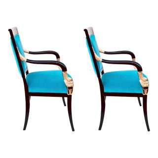 1960s Hand Carved Dolphin Crested Empire Dining Chairs by Reitter Design Studio - a Pair For Sale