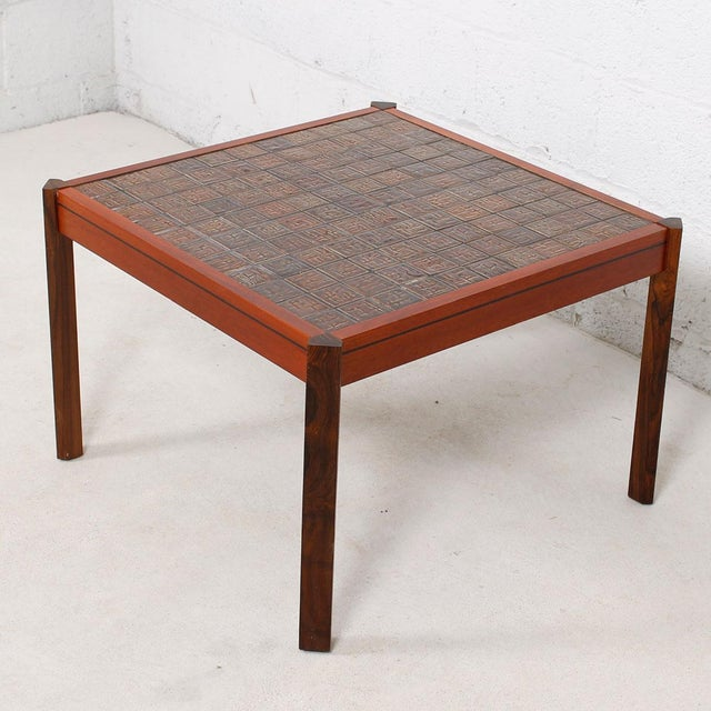 Danish Modern Accent Table with Tile Top For Sale - Image 4 of 8