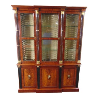 Baker Regency Mahogany Breakfront Bookcase For Sale