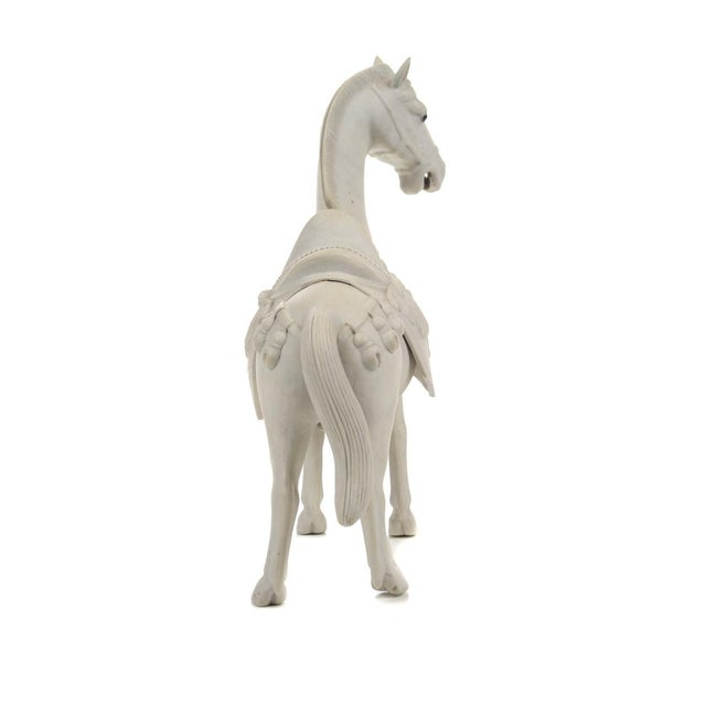 Rare Chinese Bisque Porcelain Horse Figurines - 2 For Sale - Image 9 of 9