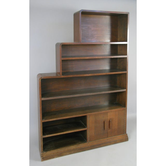 Pair of 1940s Walnut Skyscraper Bookcases For Sale - Image 4 of 9