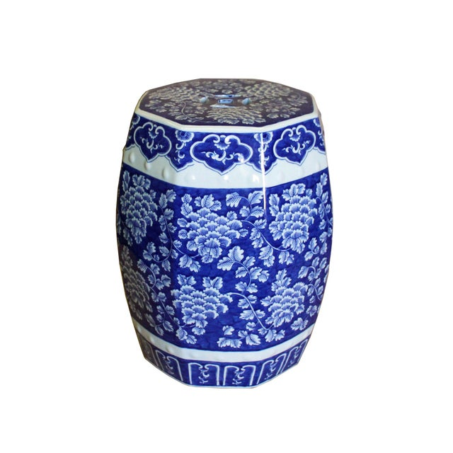 Chinese Blue & White Porcelain Floral Theme Octagon Stool Table For Sale - Image 4 of 8