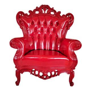 "Art Nouveau Polart Red Plastic "" Luigi"" Throne Chair For Sale"