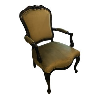 Vintage Black Lacquer and Green Velvet Arm Chair For Sale