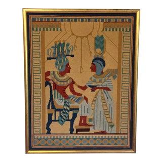 Framed Egyptian Needlepoint Art For Sale