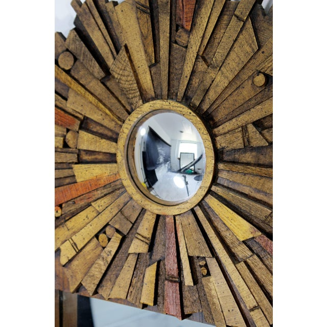 Mid-Century Modern Pair of Lane Brutalist Wood Mirrors for Mosaic Line Evans Era For Sale - Image 10 of 11