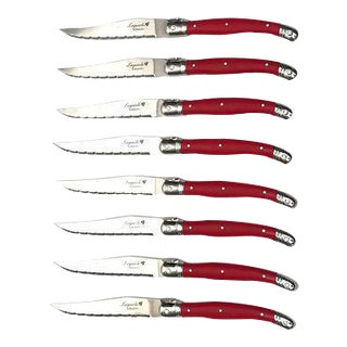 Laguiole Flying Colors Red Steak Knives - Set of 8